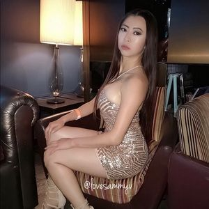 GORGEOUS SEXY GLAM ROSE GOLD MINI DRESS SIZE SMALL
